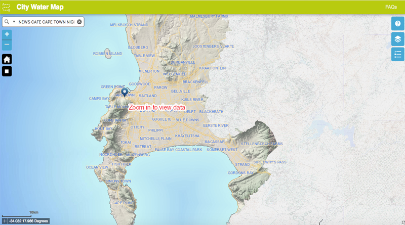Take a look at the City of Cape Towns Water Map Table View Info