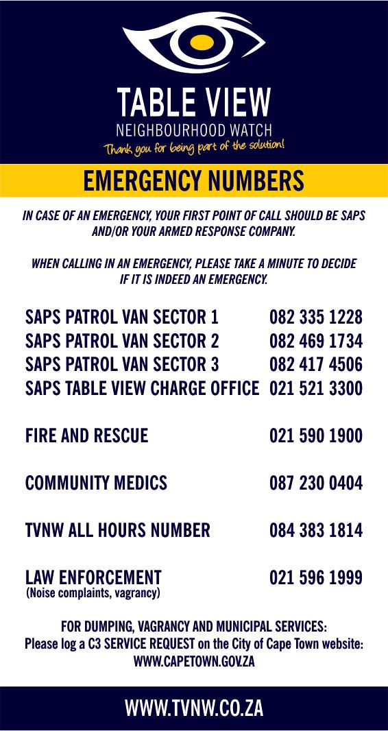 TVNW Emergency Numbers